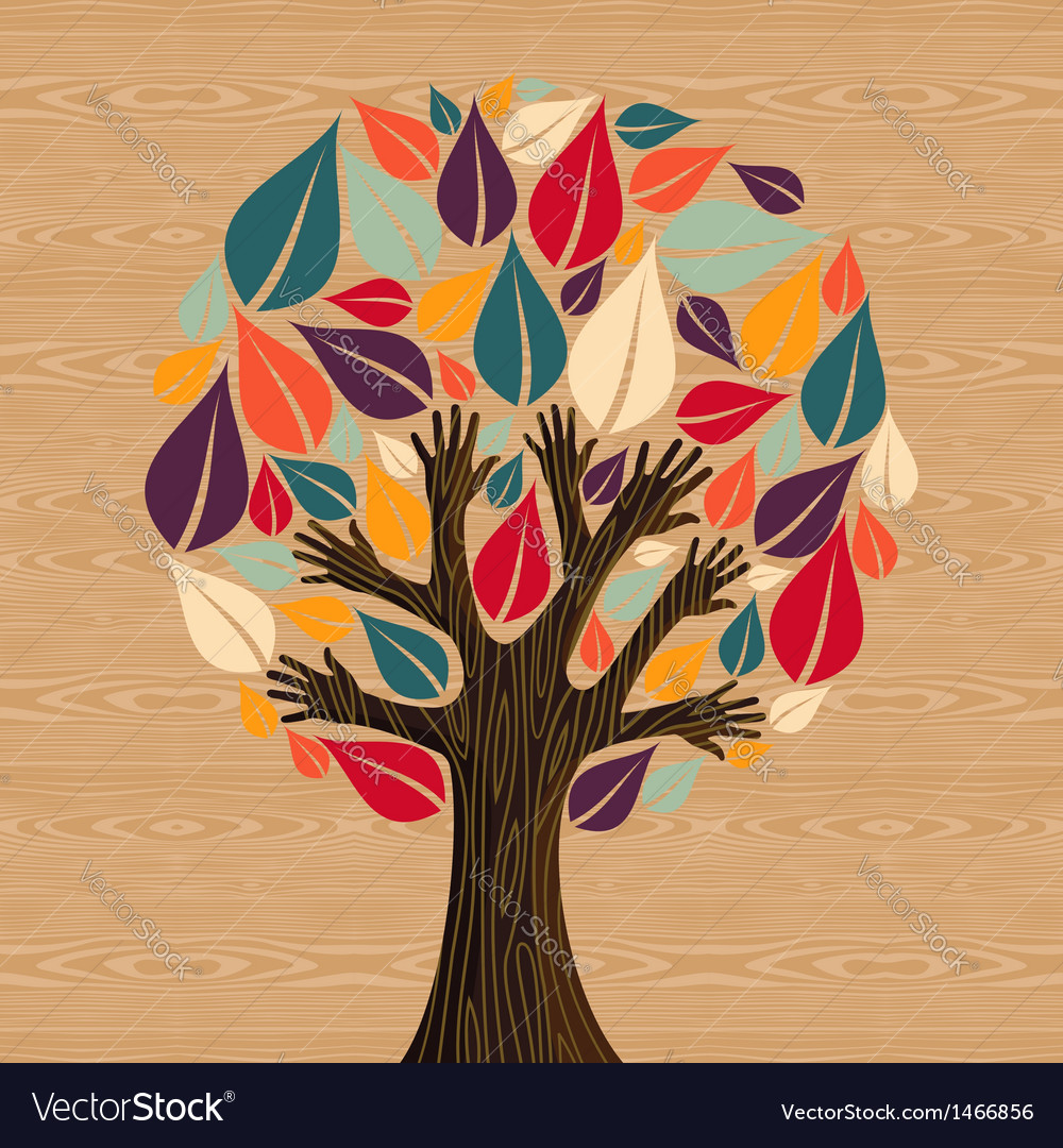 Abstract diversity tree hands vector | Price: 1 Credit (USD $1)