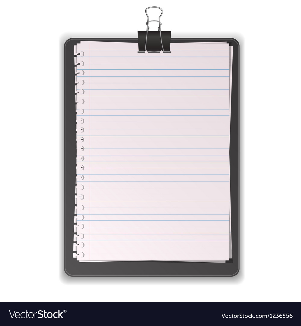 Black clipboard with paper lined vector | Price: 1 Credit (USD $1)