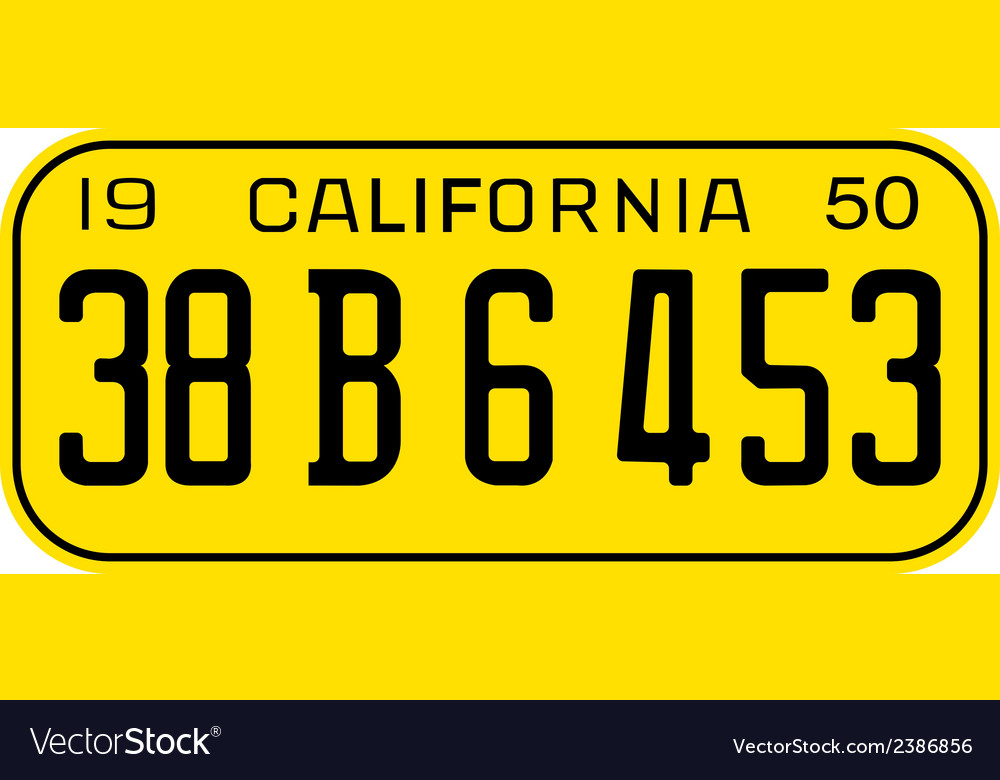California 1950 license plate vector | Price: 1 Credit (USD $1)