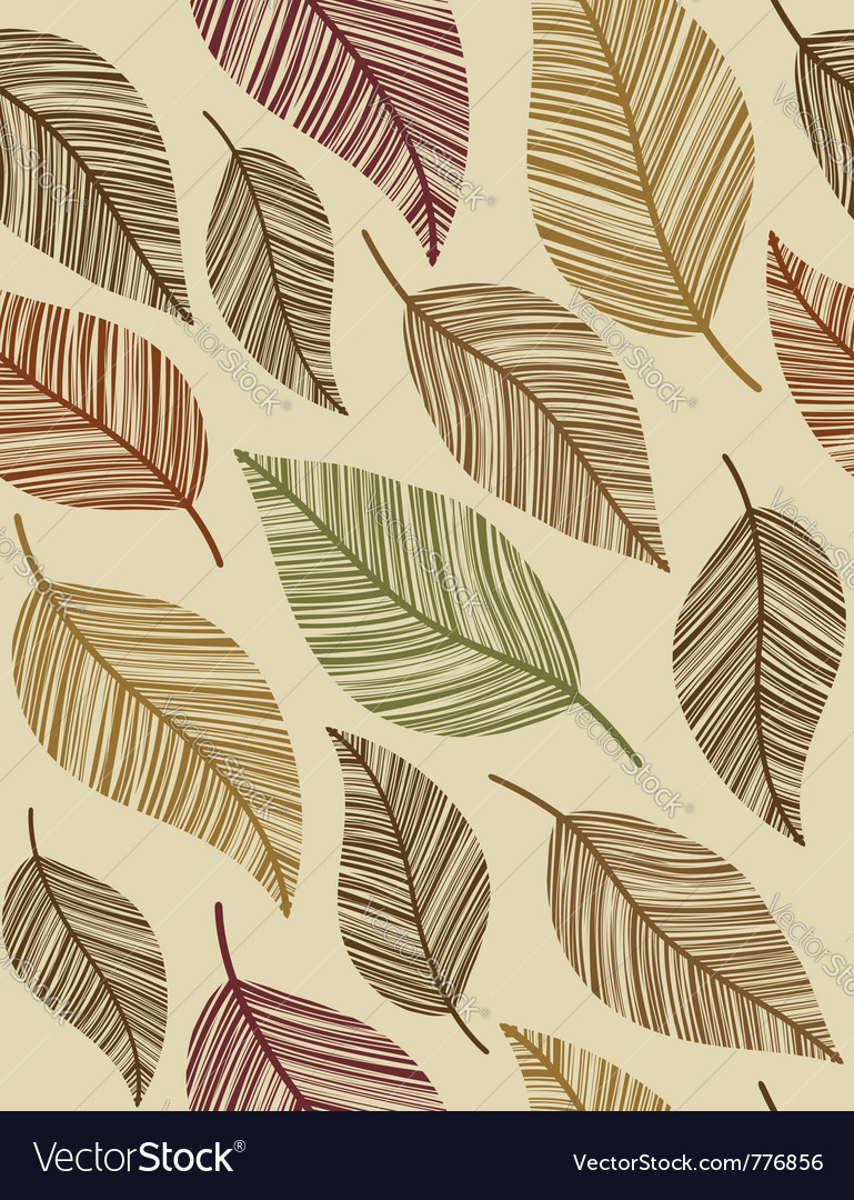 Decorative vintage leaves seamless pattern vector | Price: 1 Credit (USD $1)