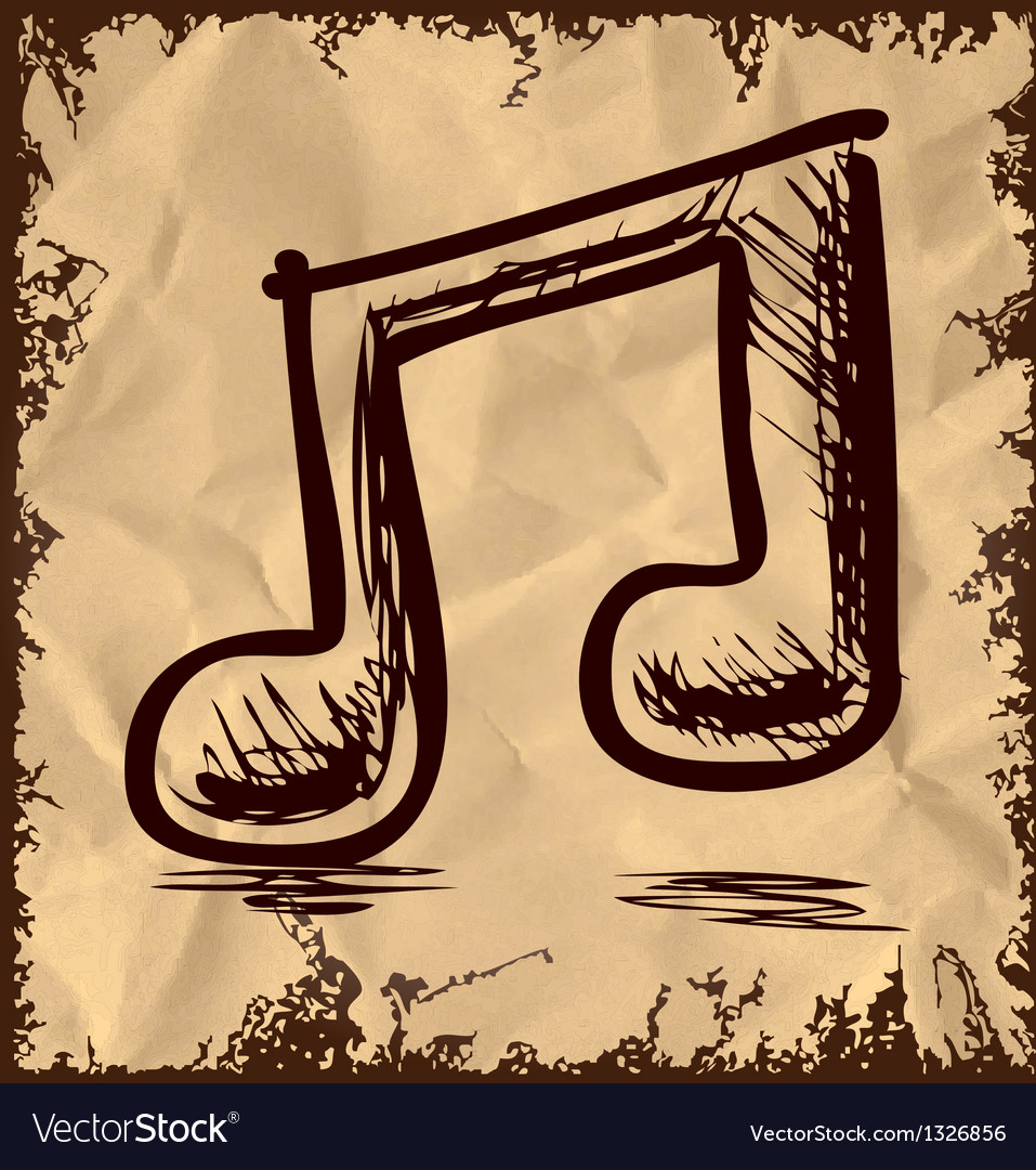 Double music note isolated on vintage background vector | Price: 1 Credit (USD $1)