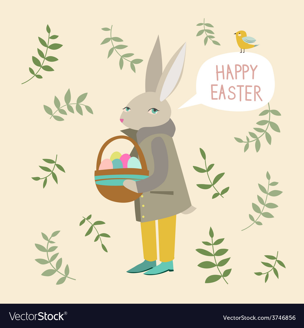 Easter rabbit with basket vector | Price: 1 Credit (USD $1)