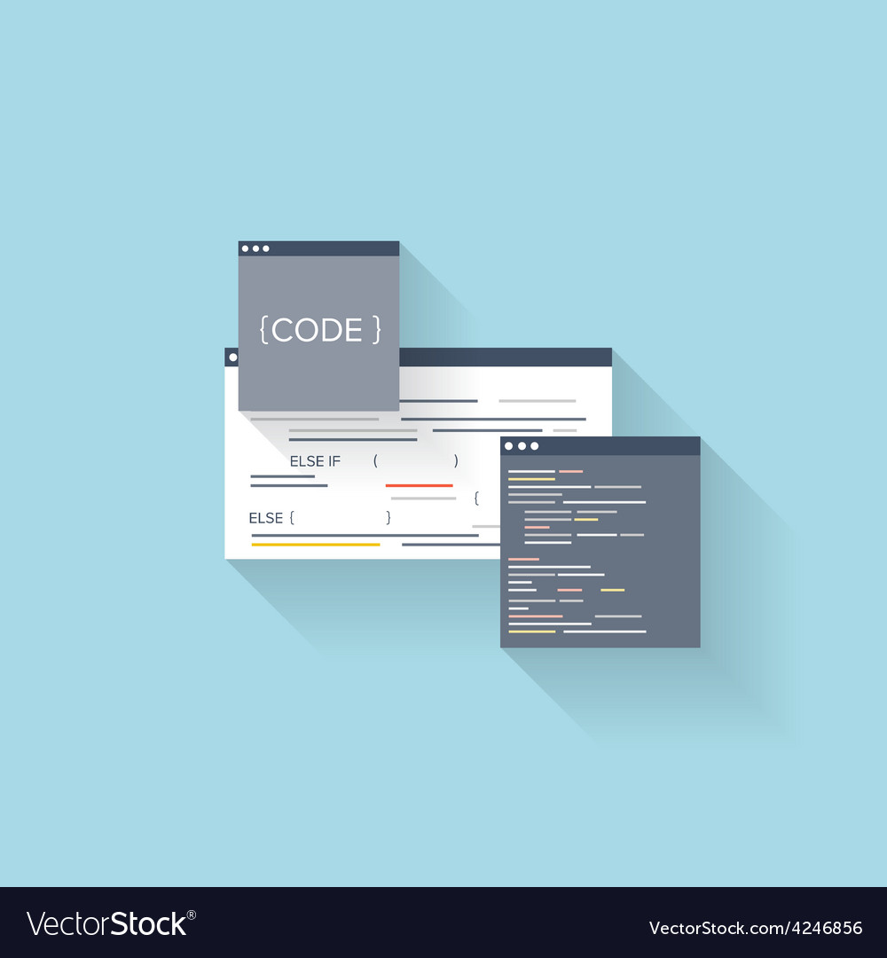 Flat web icon coding interface windowprogramming vector | Price: 1 Credit (USD $1)