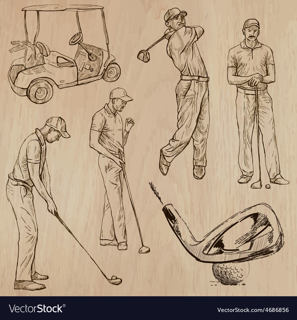 Golf and golfers - hand drawn vector | Price: 3 Credit (USD $3)