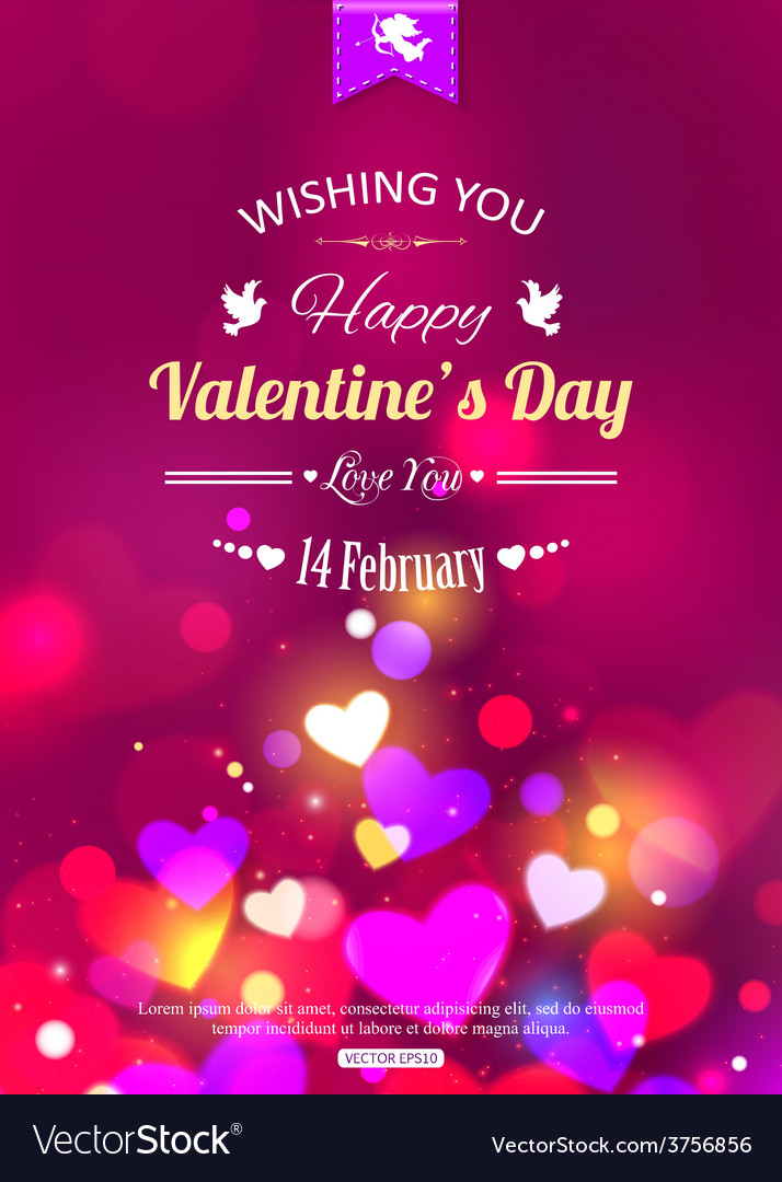 Happy valentines day typographical glow holiday vector   Price: 1 Credit (USD $1)