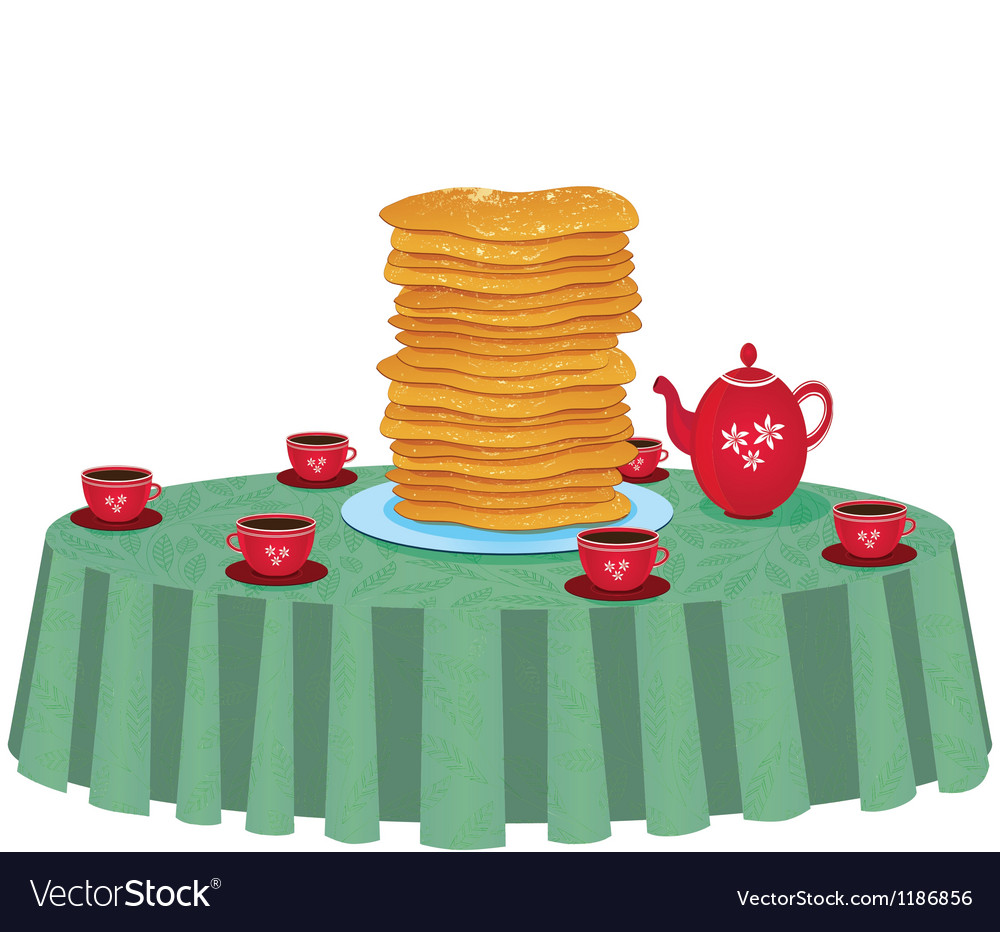 Pancakes in a dish on table vector | Price: 1 Credit (USD $1)