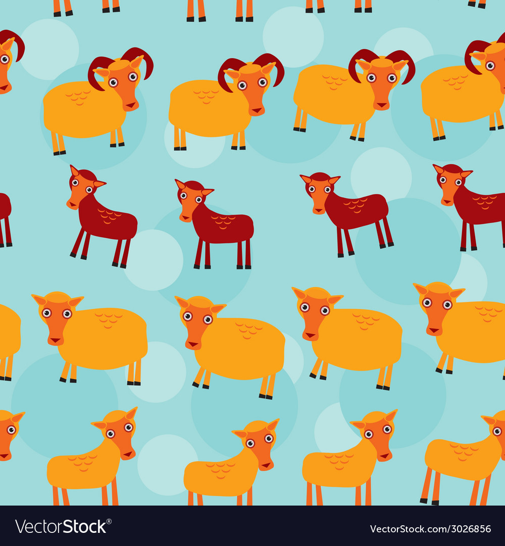 Ram ewe and lamb set of funny animals with cubs vector | Price: 1 Credit (USD $1)