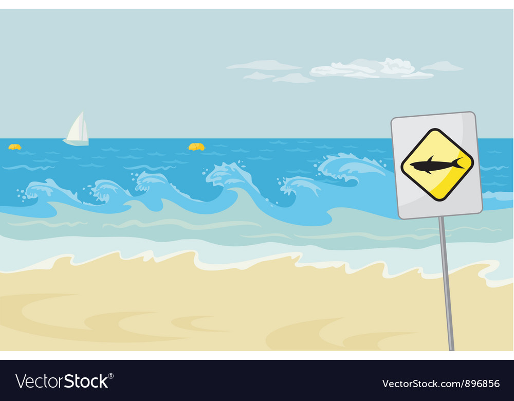 Seascape with warning vector | Price: 1 Credit (USD $1)