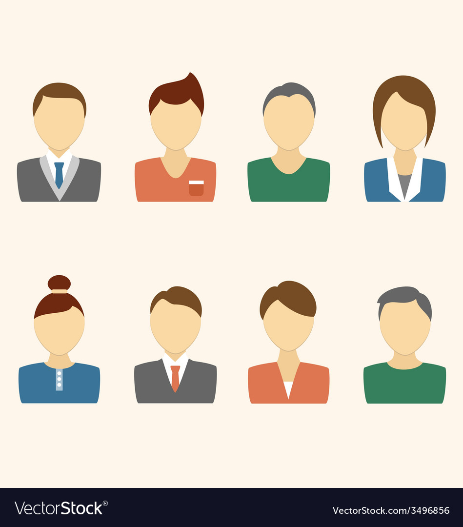 Set of business avatar office employees on beige vector | Price: 1 Credit (USD $1)