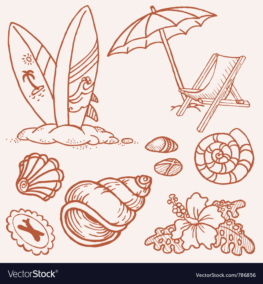 Summer seaside doodles vector | Price: 1 Credit (USD $1)