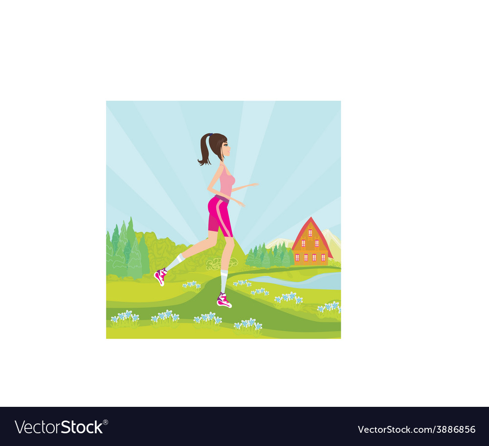 Young woman jogging at park vector | Price: 1 Credit (USD $1)