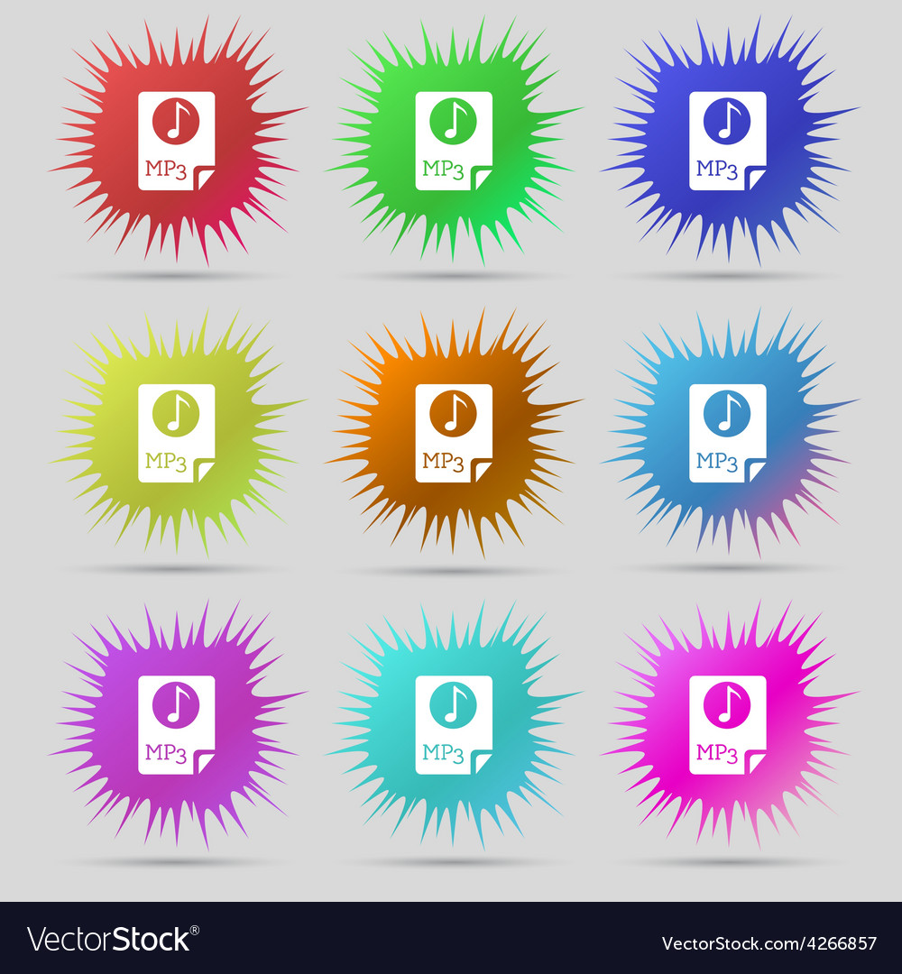 Audio mp3 file icon sign a set of nine original vector | Price: 1 Credit (USD $1)