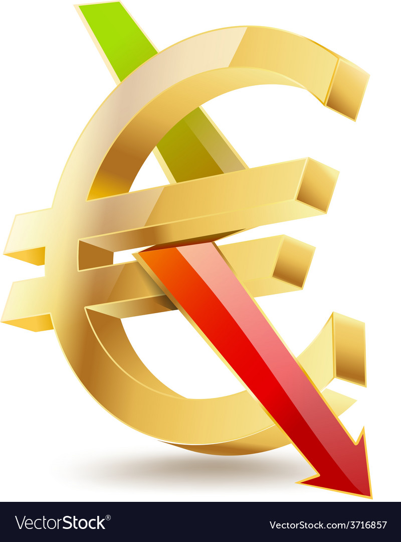 Euro falling vector | Price: 1 Credit (USD $1)