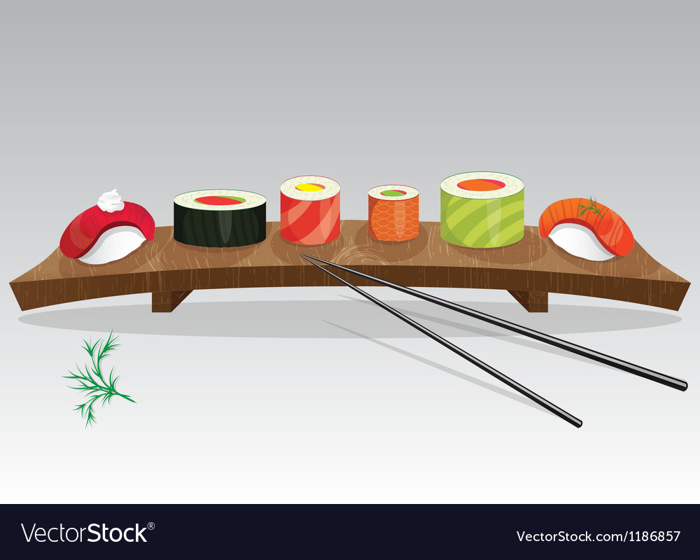 Food sea set sushi details of japanese cuisine vector | Price: 1 Credit (USD $1)