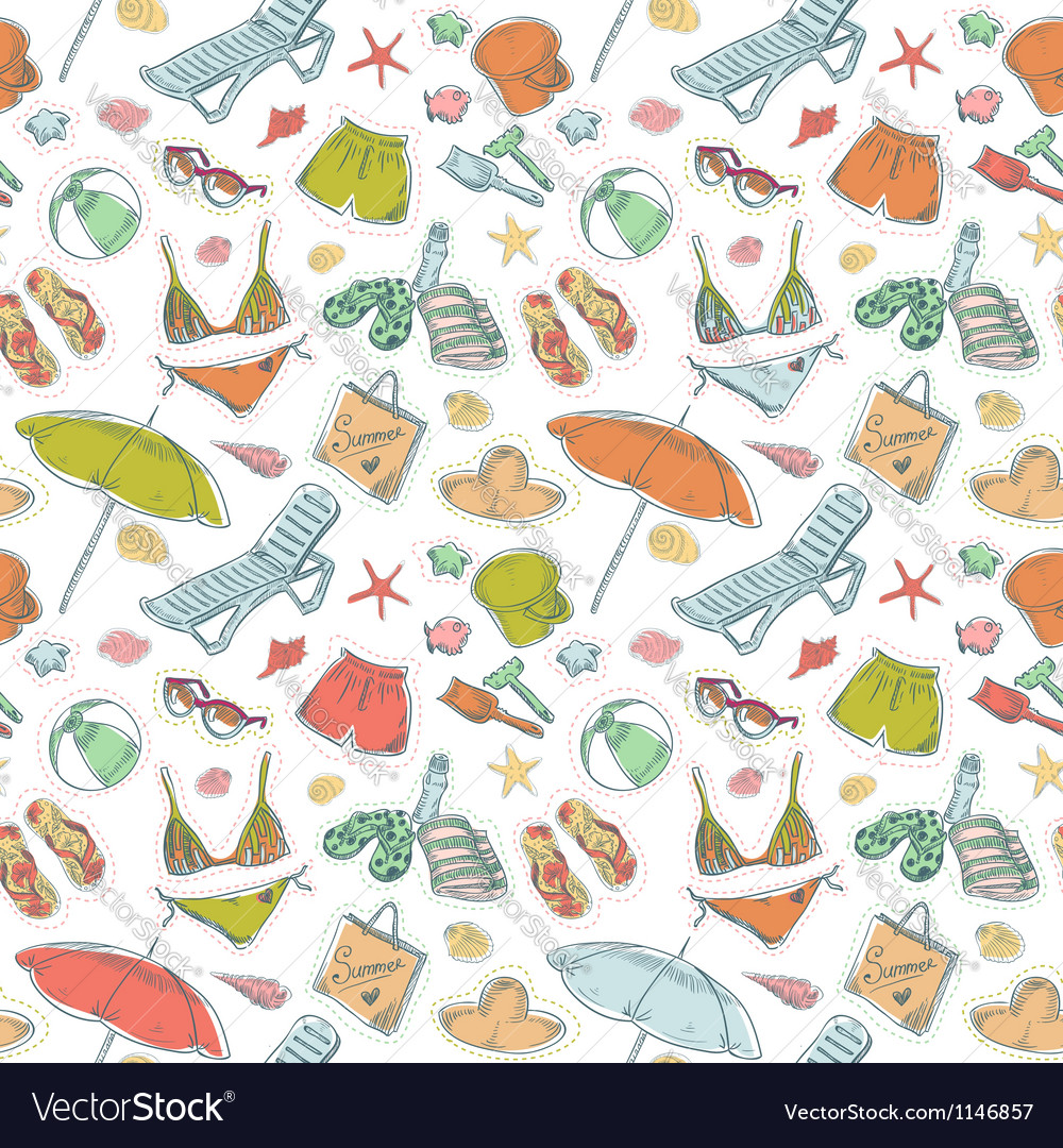 Hand drawn retro summer beach set seamless pattern vector | Price: 1 Credit (USD $1)