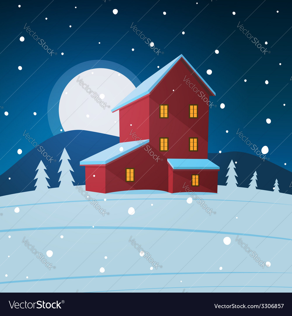 House in the snow vector | Price: 1 Credit (USD $1)