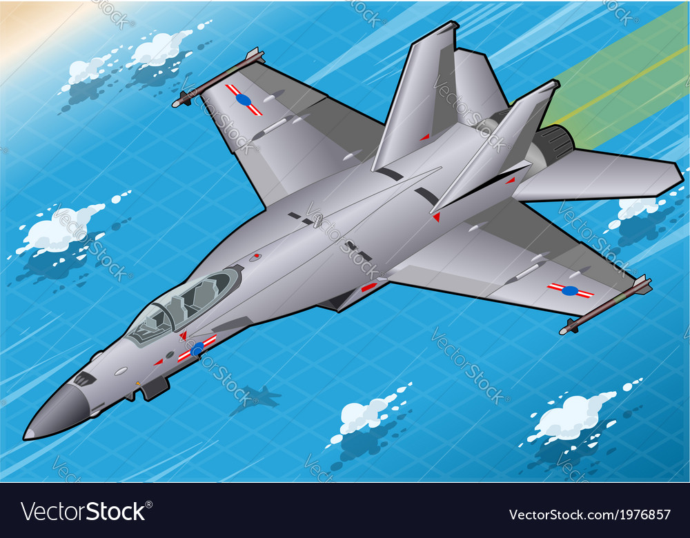 Isometric fighter bomber in flight in front view vector | Price: 1 Credit (USD $1)