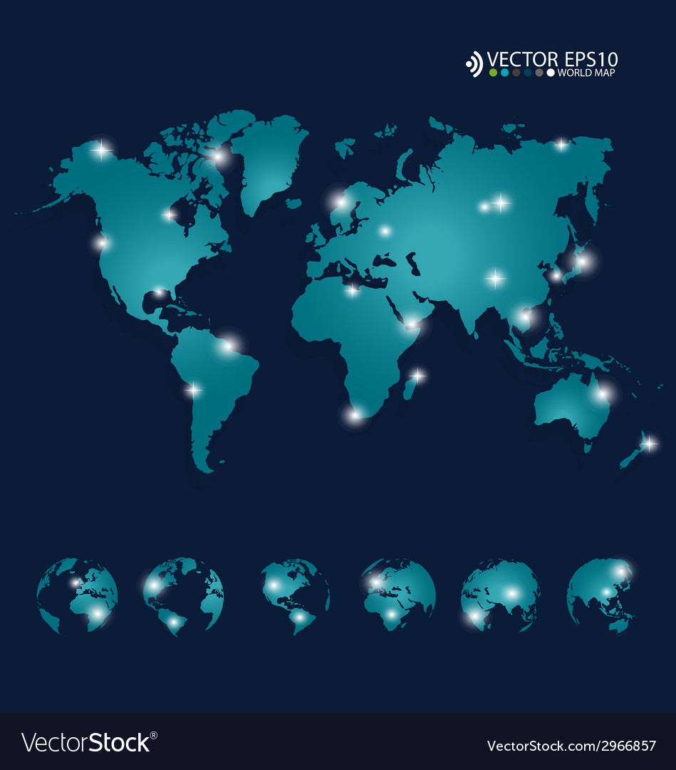 Modern world map design vector   Price: 1 Credit (USD $1)
