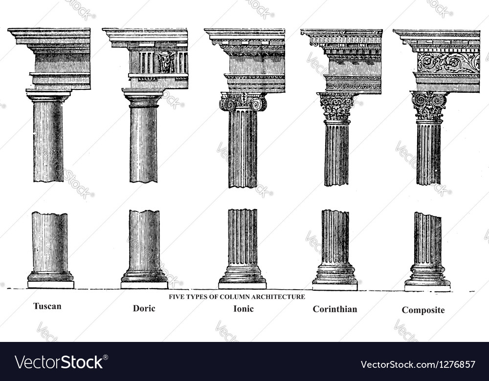 Old column architecture vector | Price: 1 Credit (USD $1)