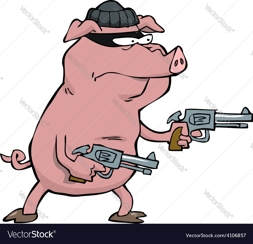 Pig robber with guns vector | Price: 3 Credit (USD $3)