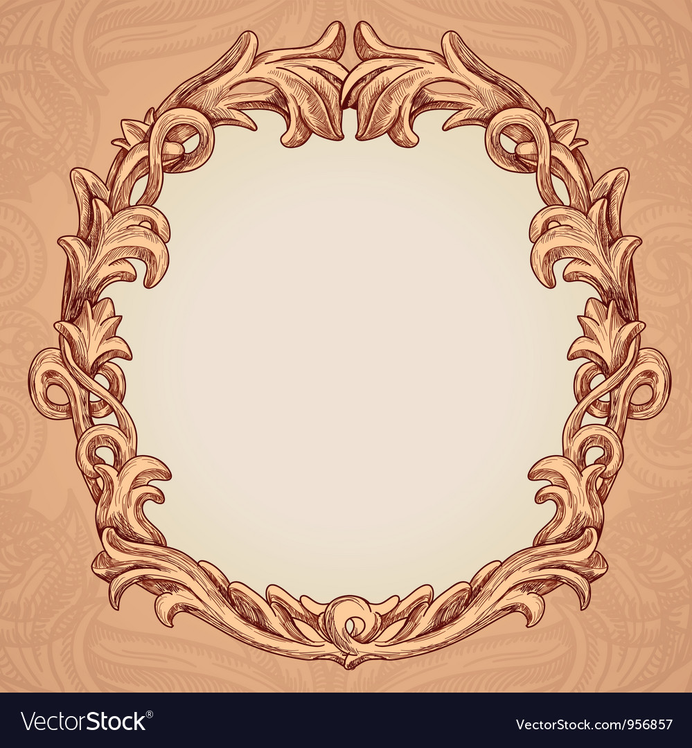 Round frame in vintage style vector | Price: 1 Credit (USD $1)