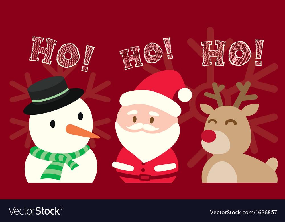 Santa claus snowman reindeer christmas cartoon vector   Price: 1 Credit (USD $1)