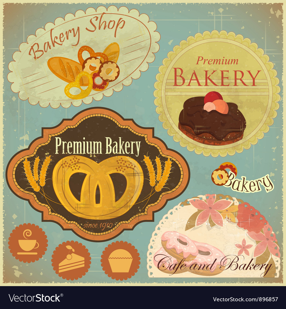 Set of vintage bakery and cafe labels vector | Price: 3 Credit (USD $3)