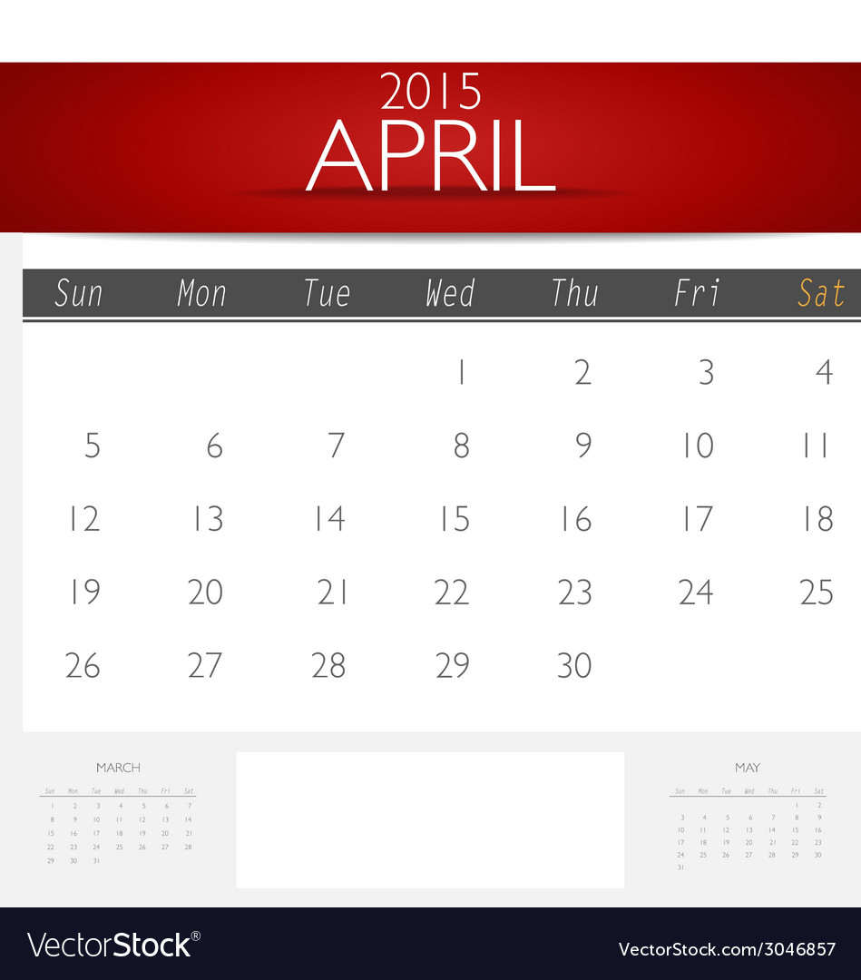 Simple 2015 calendar april vector | Price: 1 Credit (USD $1)