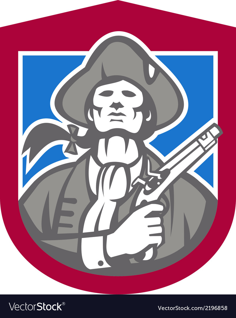 American patriot with flintlock shield retro vector | Price: 1 Credit (USD $1)