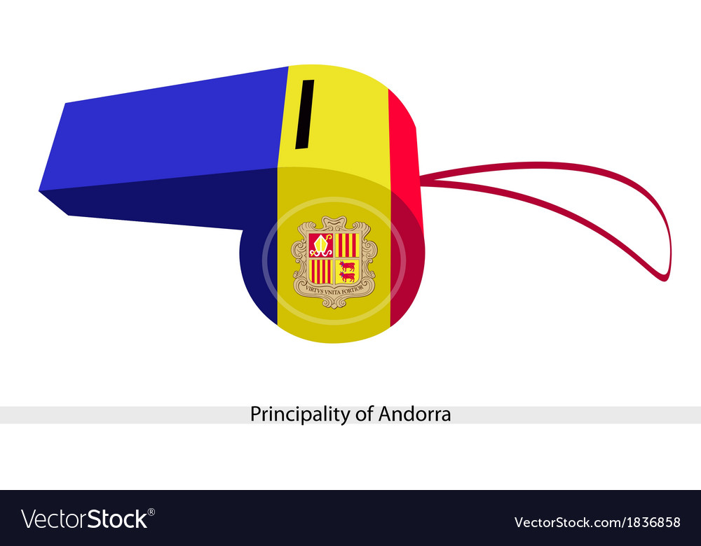 Blue yellow and red stripe on andorra whistle vector | Price: 1 Credit (USD $1)