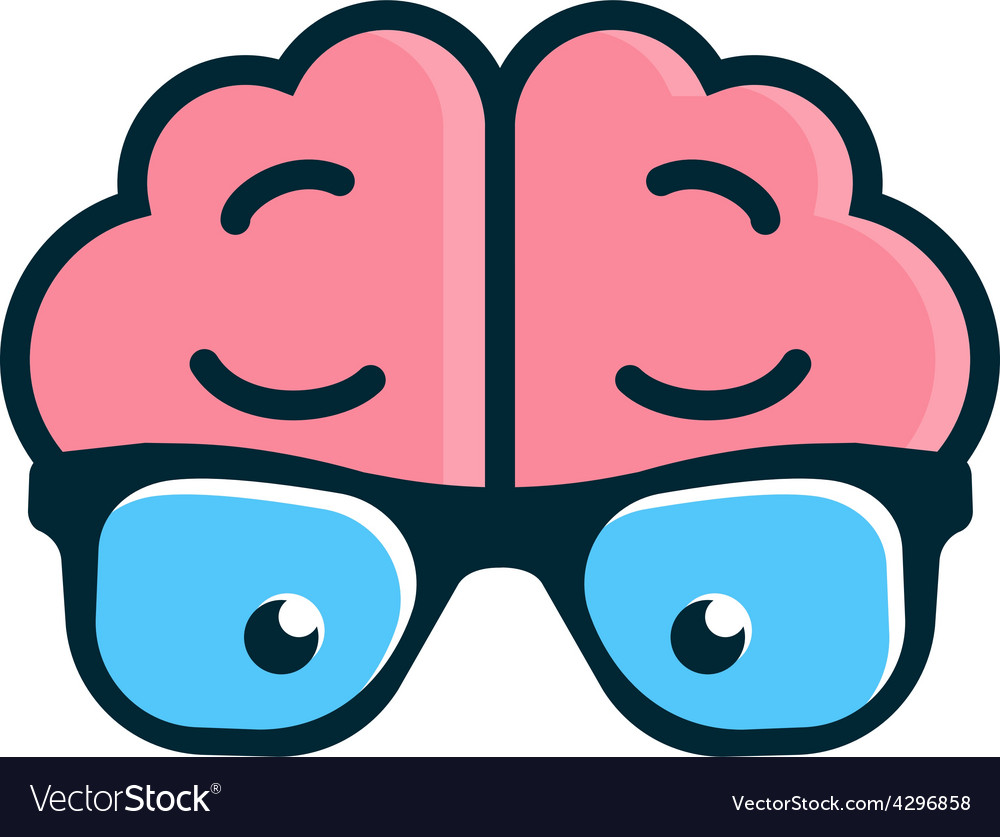 Brain with glasses science logo vector | Price: 1 Credit (USD $1)