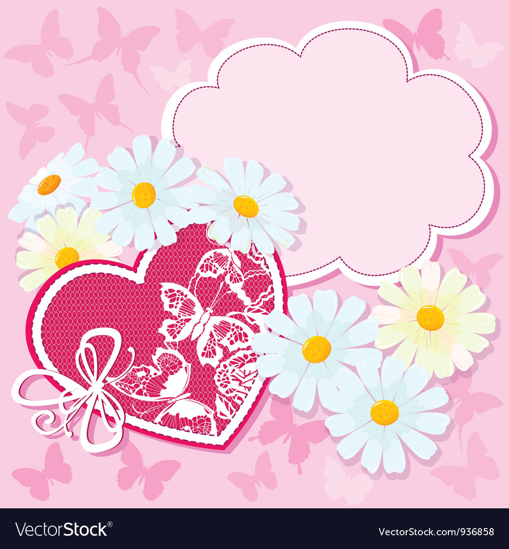 Heart and daisies on a pink background with butter vector | Price: 1 Credit (USD $1)