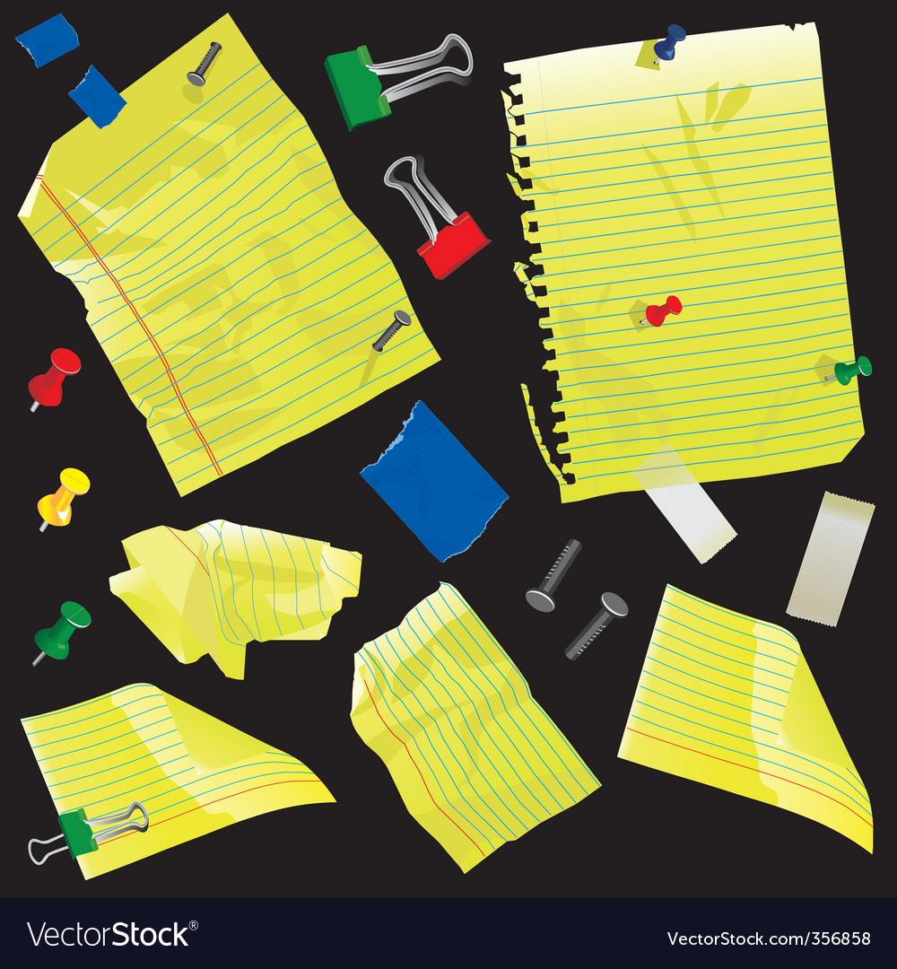Note cards tape paper clips vector | Price: 1 Credit (USD $1)