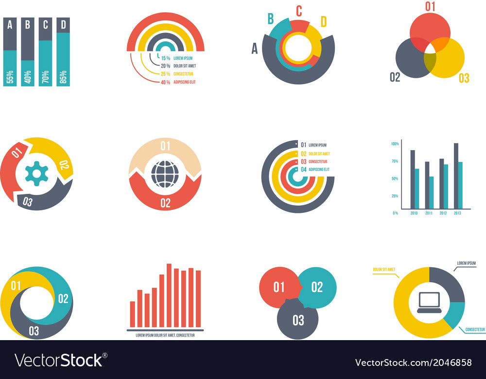Pie and bar charts vector | Price: 1 Credit (USD $1)