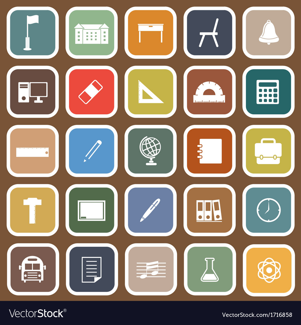 School flat icons on brown background vector | Price: 1 Credit (USD $1)