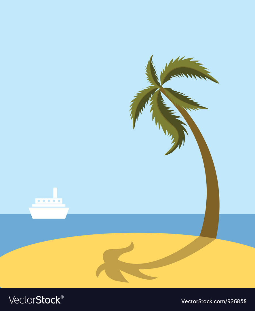 Sea beach with palm tree vector | Price: 1 Credit (USD $1)
