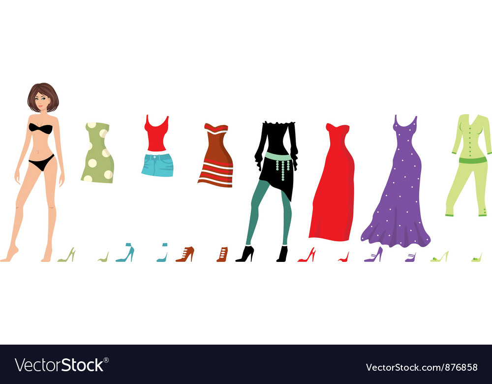 Young beautiful paper dolls with clothes set vector | Price: 1 Credit (USD $1)
