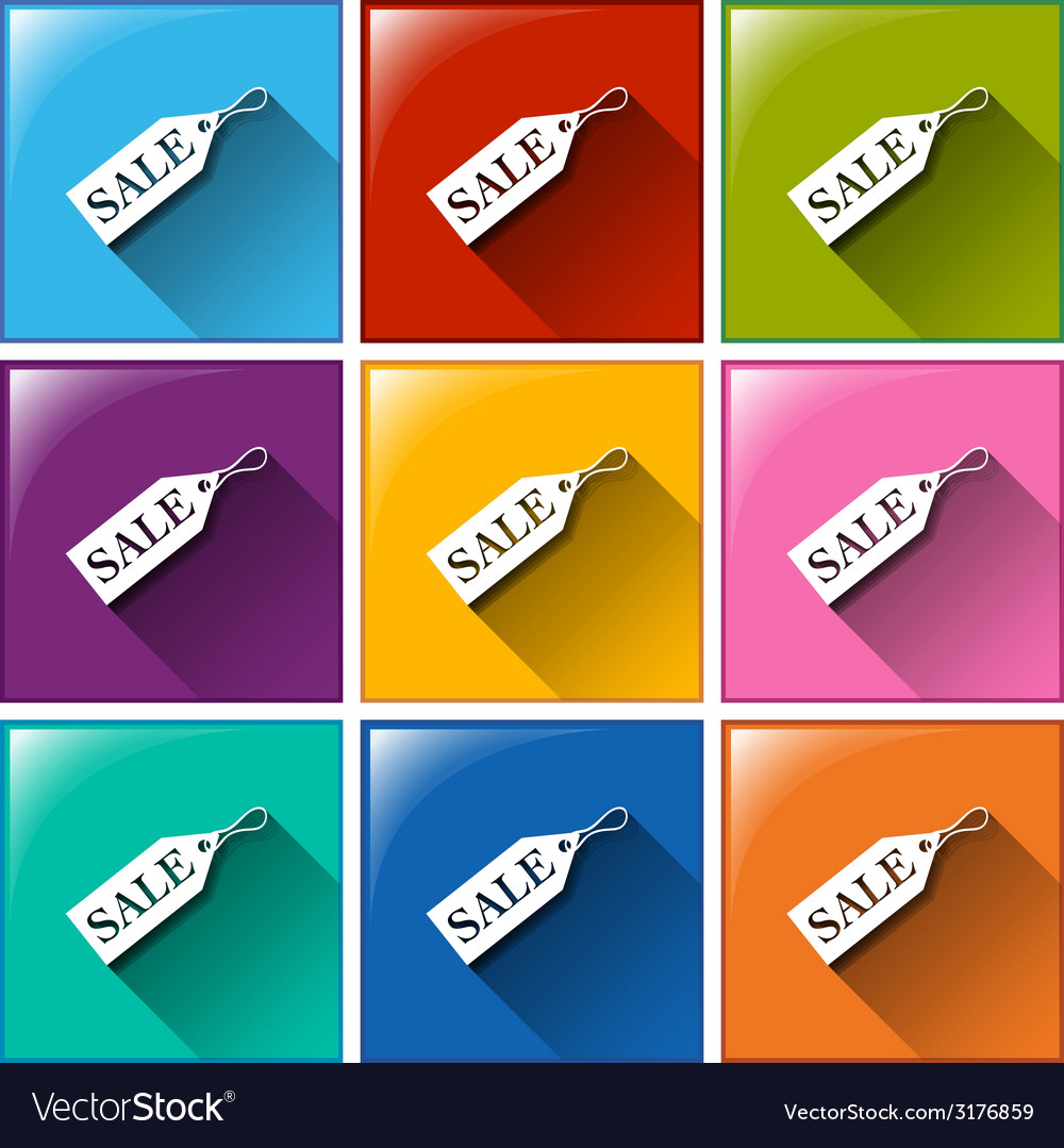 Buttons with sale tags vector | Price: 1 Credit (USD $1)