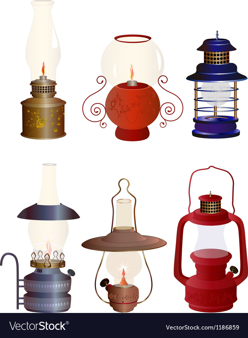 The complete set of old oil lamps vector | Price: 3 Credit (USD $3)