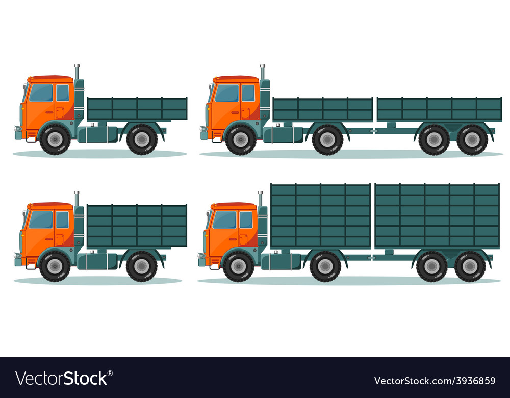 Orange empty truck vector | Price: 1 Credit (USD $1)