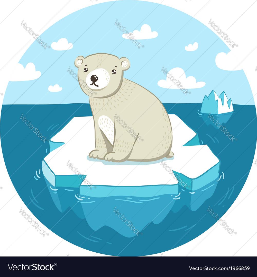 Polar bear on ice vector | Price: 1 Credit (USD $1)