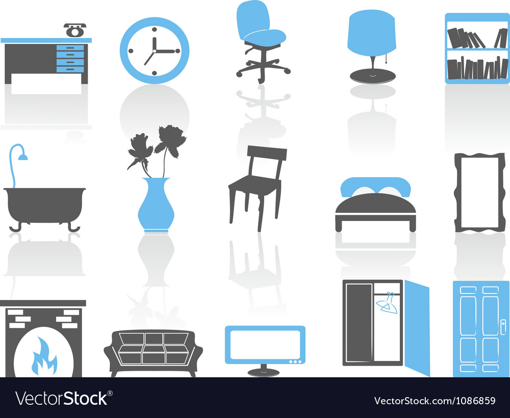 Simple interior furniture icons setblue series vector | Price: 1 Credit (USD $1)
