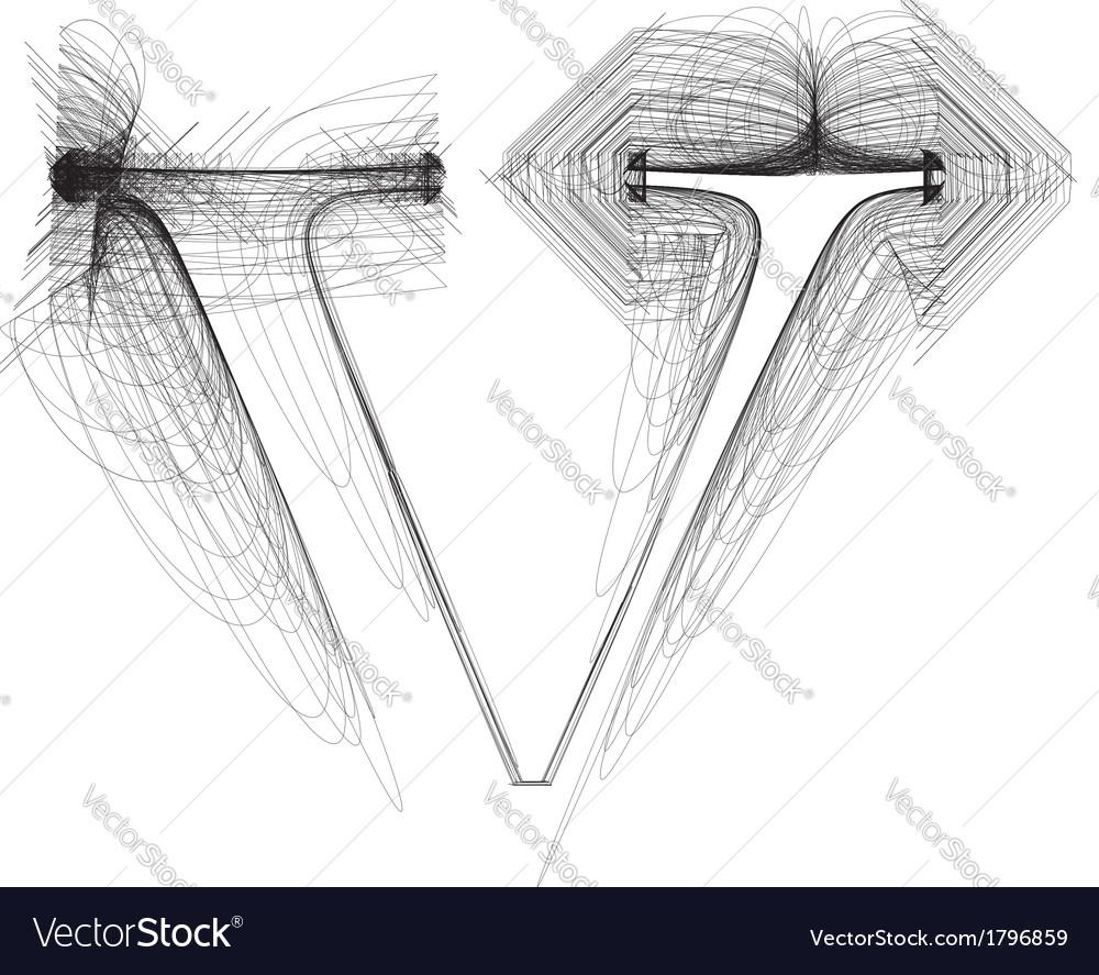 Sketch font letter l vector | Price: 1 Credit (USD $1)