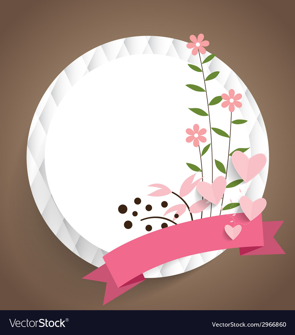 Cute card with ribbon and floral bouquets vector | Price: 1 Credit (USD $1)