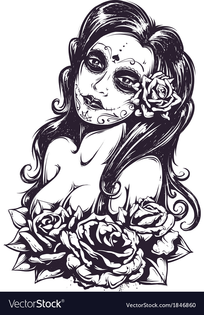 Day of dead girl 3 vector | Price: 1 Credit (USD $1)