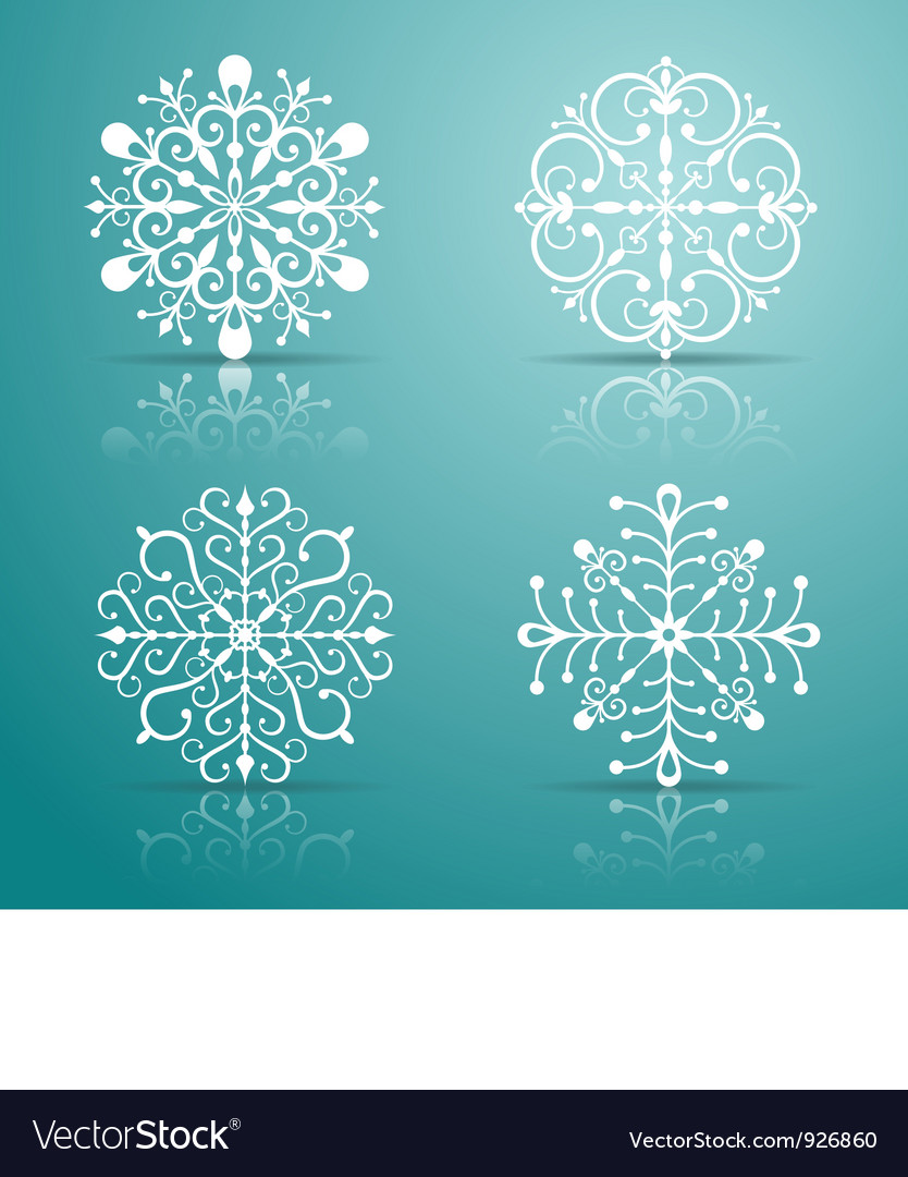 Decorative snowflakes set vector | Price: 1 Credit (USD $1)