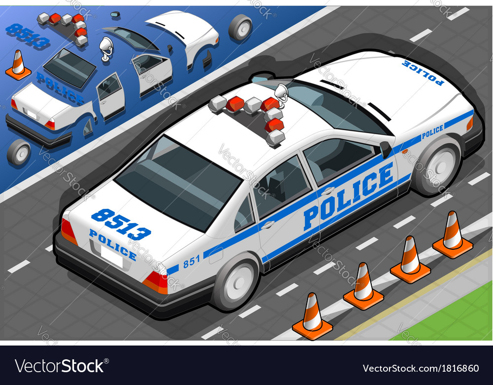 Isometric police car in rear view vector | Price: 1 Credit (USD $1)