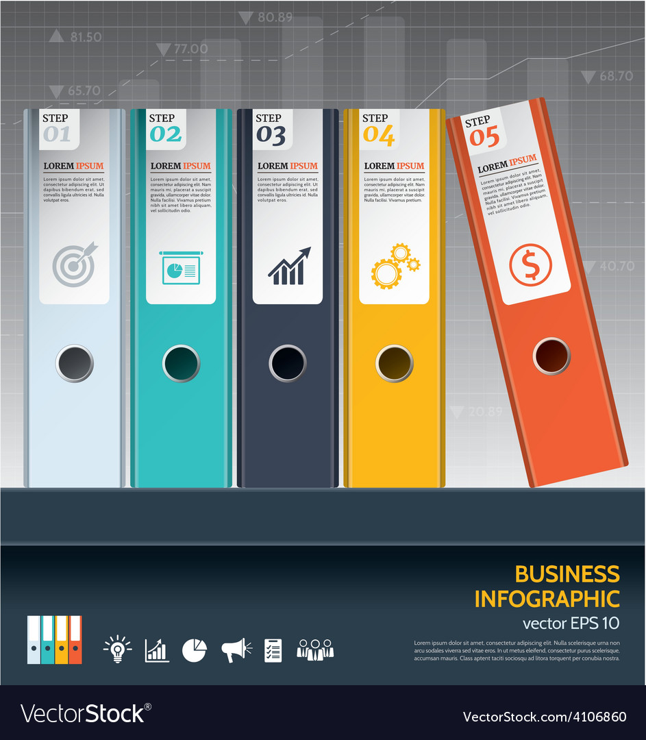 Modern business ring binders steps to success vector | Price: 3 Credit (USD $3)