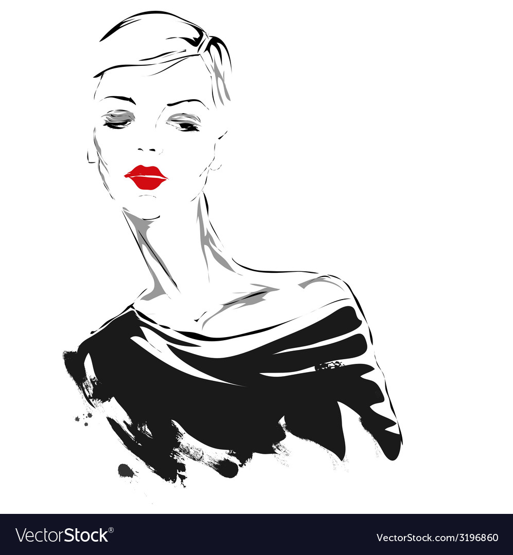 Modern girl sketch red lips vector | Price: 1 Credit (USD $1)