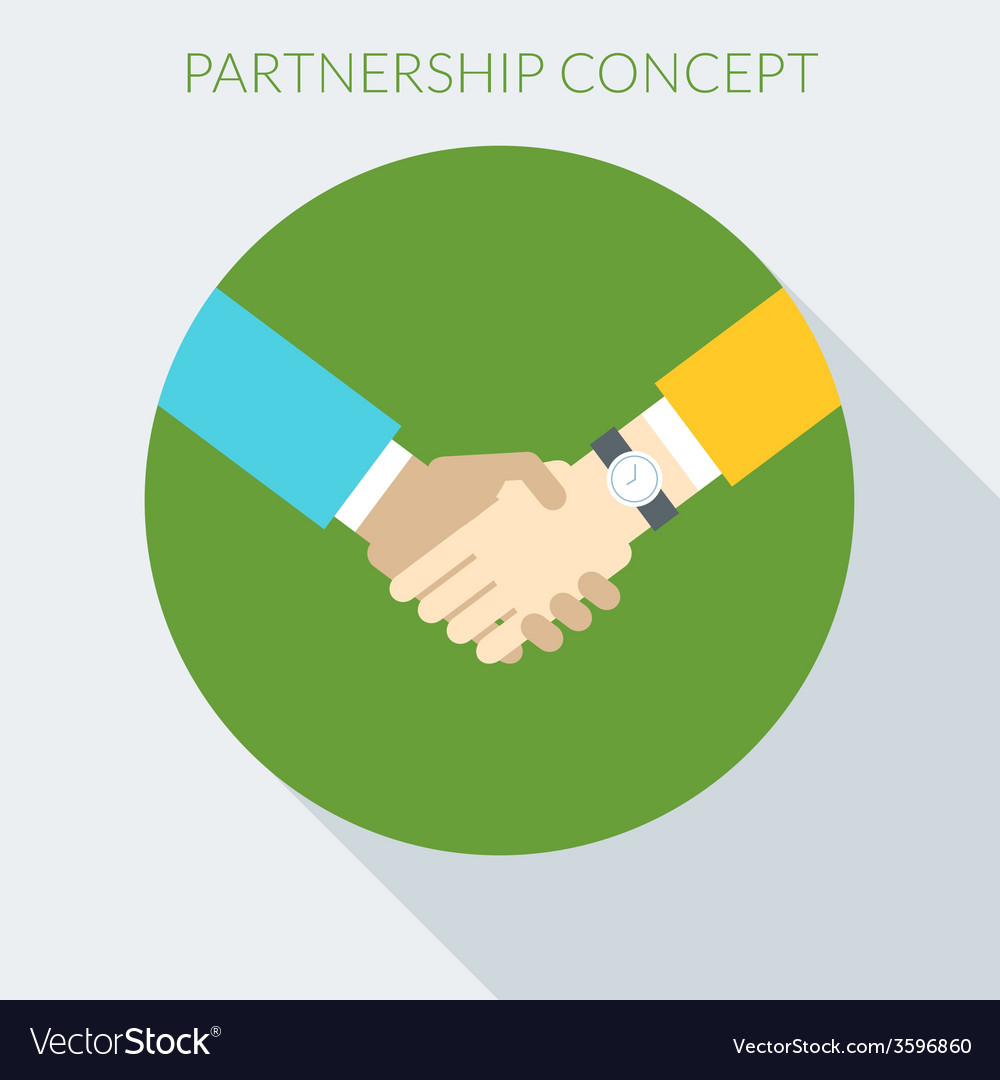 Partnership concept handshake in flat desig vector   Price: 1 Credit (USD $1)